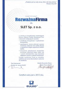 certyfikat rozważna firma slet