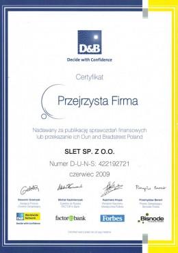 d&b certyfikat przejrzysta firma slet