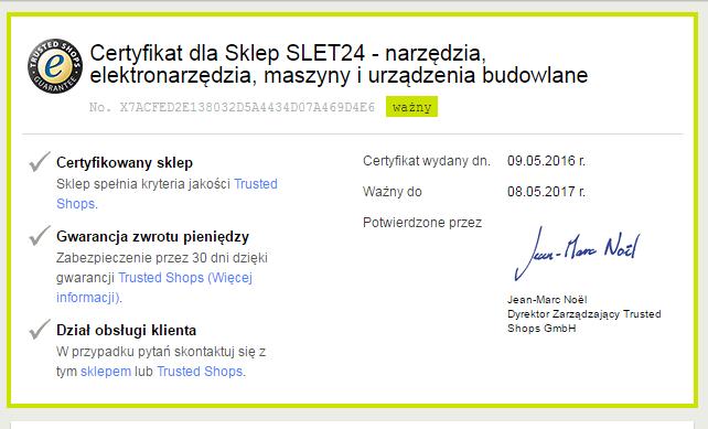 certyfikat TD